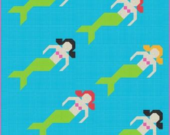 Mermaid Quilt Pattern, PDF, Instant Download, modern patchwork, water bikini fish ocean blue green