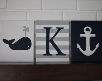 Whale Painting, Navy Gray Nursery, Nautical Painting, Whale Nursery, Nautical Nursery, Navy Gray Nautical, Nautical Decor