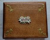 Vintage Wooden Box Carved Bovine Bone MOTHER Flowers Embellishment - Keepsake Jewelry Box