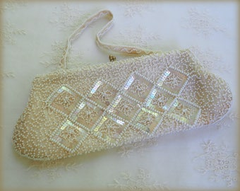 Vintage Beaded Purse  - SAX Fifth Avenue - Beads & Sequins   -  Made in Belgium -  Evening Bag