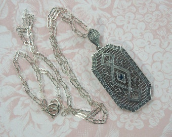 Edwardian Reproduction  Silver Filigree Drop Pendant Necklace with Genuine Sapphire Stone - Sterling Silver Chain