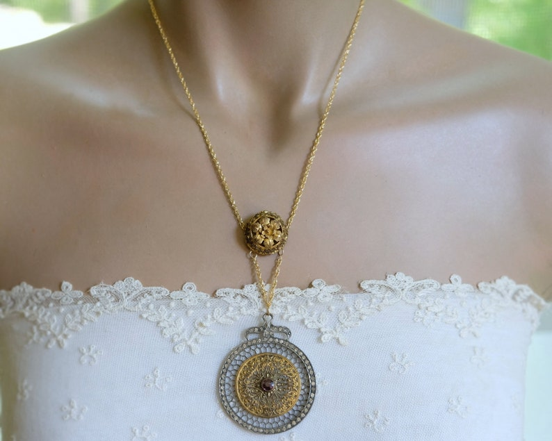14K Gold Filled Chain Fabulous Antique Filigree  Medallion Amethyst  Lariat Necklace with Paste Diamonds Floral Connector