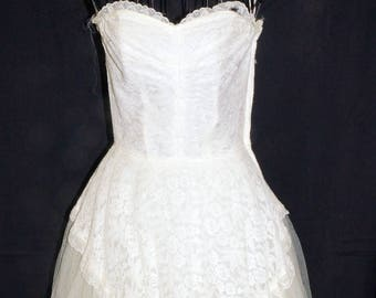 1940s Strapless Project Wedding Dress Sz 2 Vintage Retro
