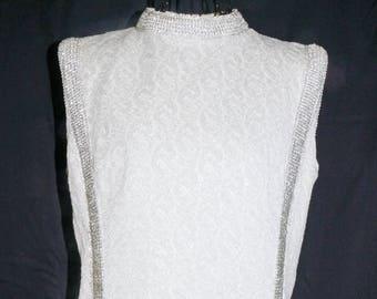 1960s Silver Knit Mini Dress Sz 6 Vintage Retro