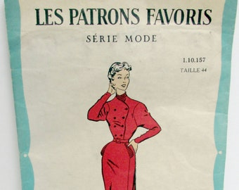 1950s French Dress Pattern Unopened Taille 44 Vintage