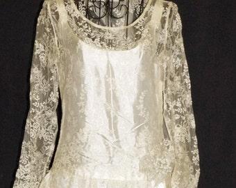 1920s Wedding Dress Veil Sz 2-4 Vintage Deco