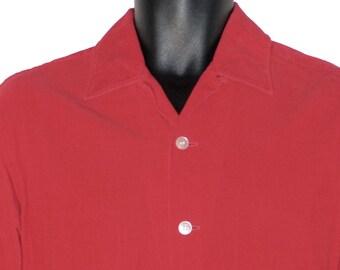 ac8b4dda 1950s Mens Corduroy Long Sleeve Shirt M Vintage
