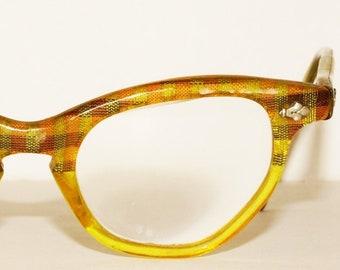7e0f70b5cca1 1950s Cat Eye Glasses Foil Vintage Retro