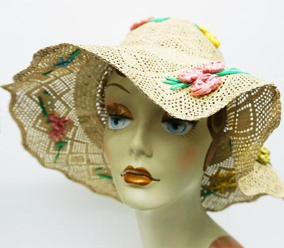 Mid Century Summer Straw Hat Vintage - image 1