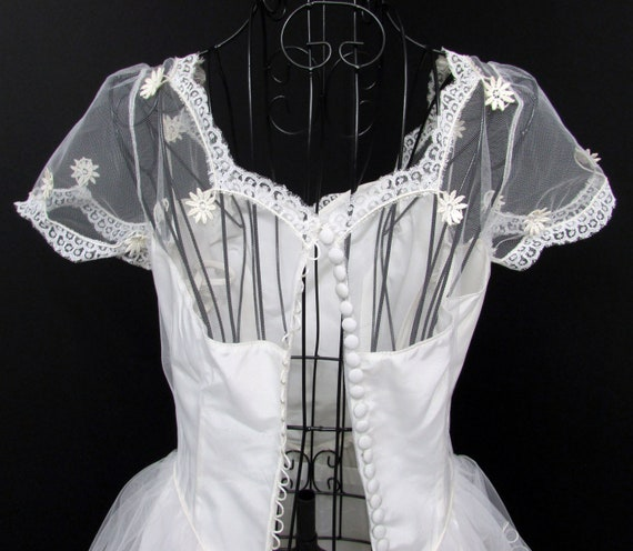 1950s Wedding Dress w Cap Veil Sz XS Vintage Floo… - image 8