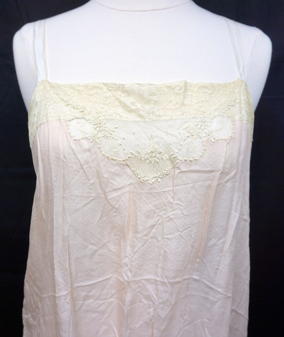1920s Lace Silk Chemise Sz 6 Antique Lingerie Pin