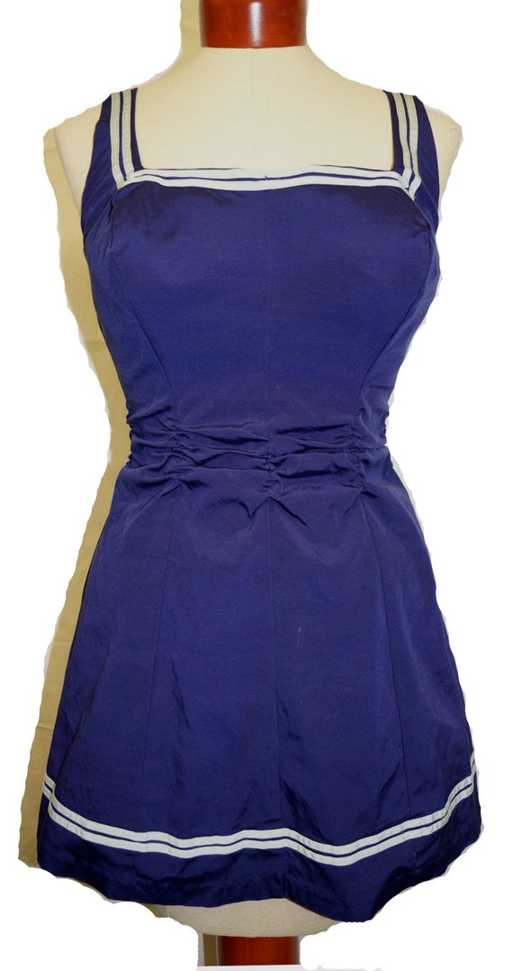 1940s 1950s Flexees Swim Dress Sz 8 Vintage Pin Up