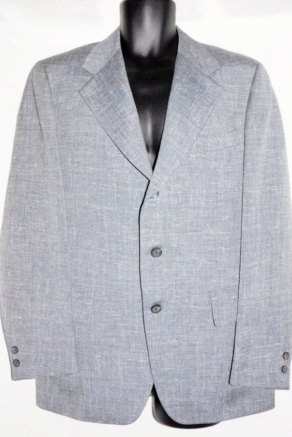 1970s Mens Gray Wool Suit 44Chest Vintage Hippie