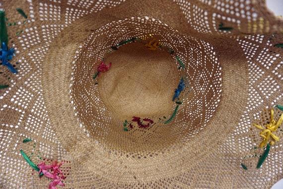 Mid Century Summer Straw Hat Vintage - image 7