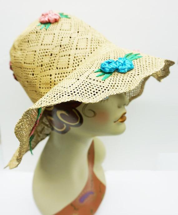 Mid Century Summer Straw Hat Vintage - image 2