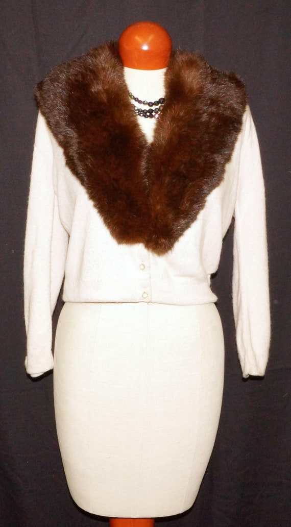 1959 Fur Collared Cardigan Sweater Sz M Vintage
