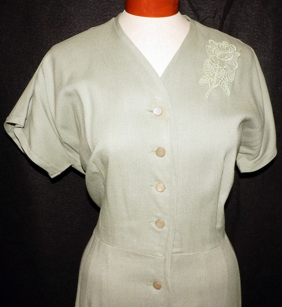 1960s Linen Day Dress Sz XL Vintage