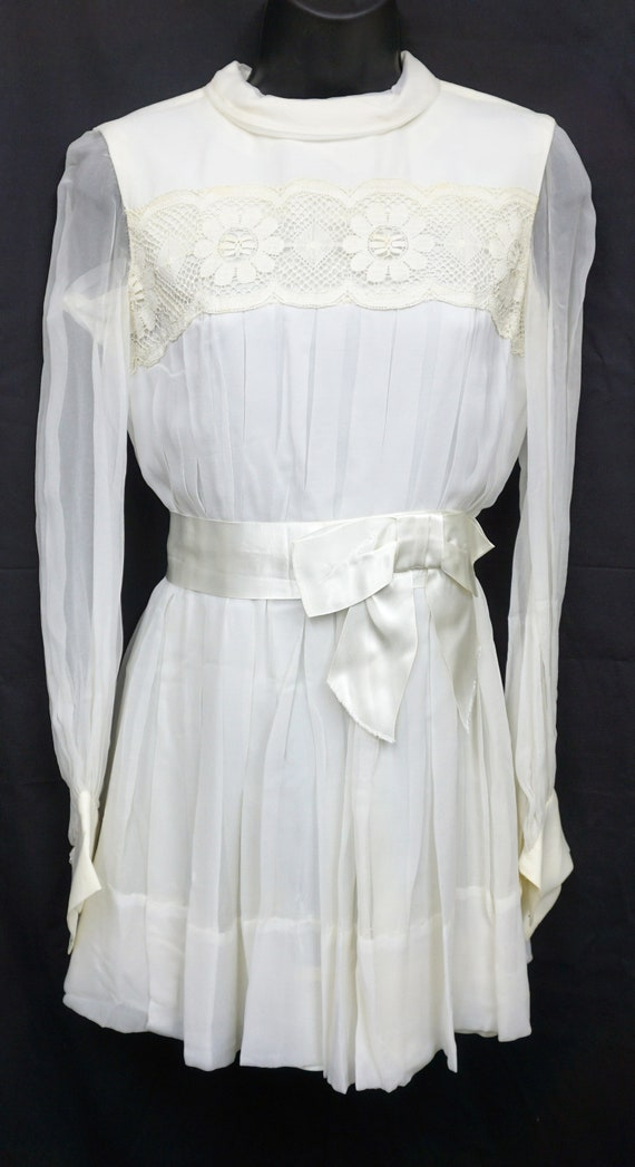 1960s Chiffon Mini Dress Sz XS Vintage Mod Wedding
