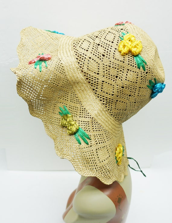 Mid Century Summer Straw Hat Vintage - image 4