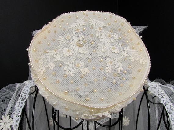 1950s Wedding Dress w Cap Veil Sz XS Vintage Floo… - image 10