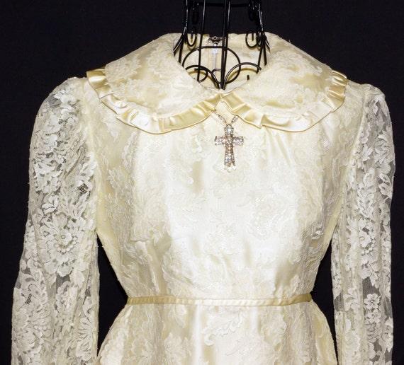 1960s Mini Wedding Dress Sz 2 Hippie Vintage Retro