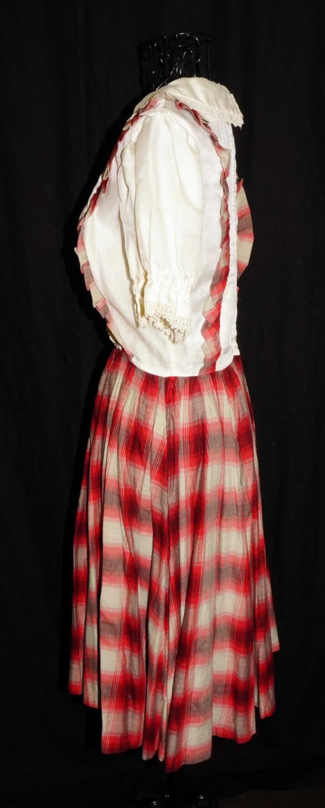 1950s Womens Girls Plaid Western Dress Sz 4 Vintage Rockabilly