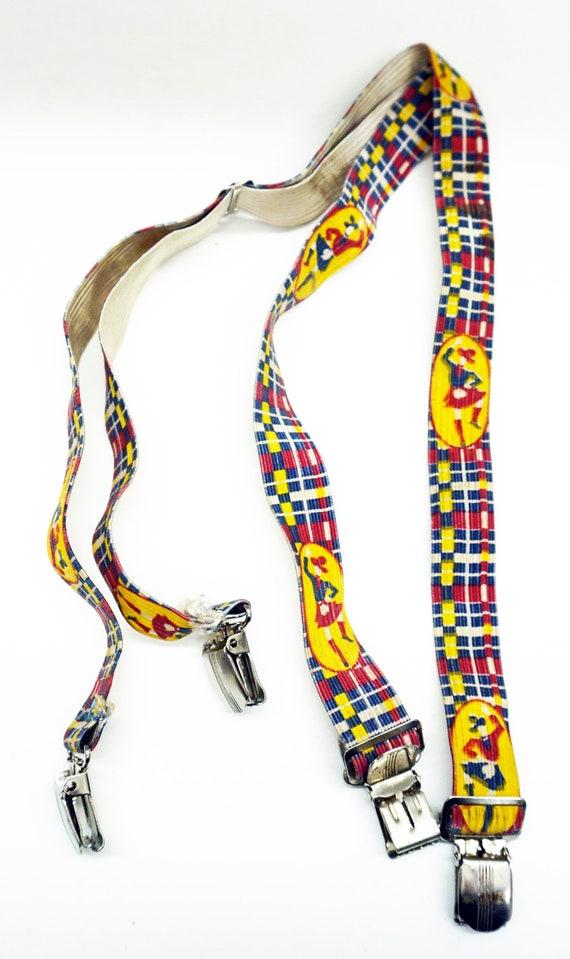 1950s Boys Elastic Suspenders Scottish Print Vinta
