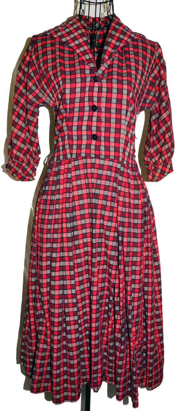 1940s Womens Day Dress Sz 2 Vintage Cotton