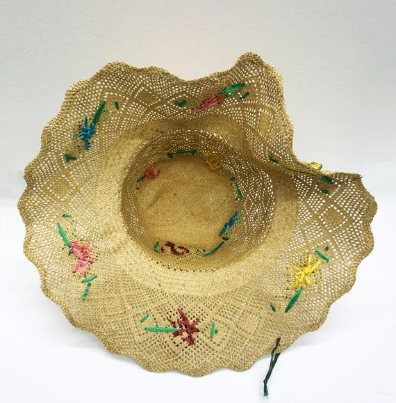 Mid Century Summer Straw Hat Vintage - image 5
