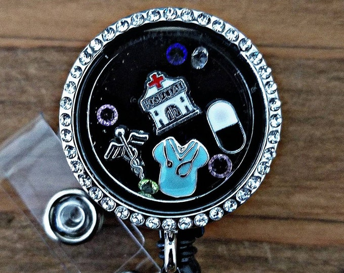 Featured listing image: Custom Floating Memory Charm Locket Retractable Badge Holder Reel