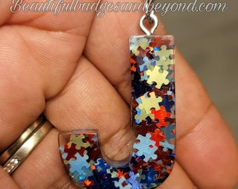 Autism Awareness Initial Puzzle Keychain
