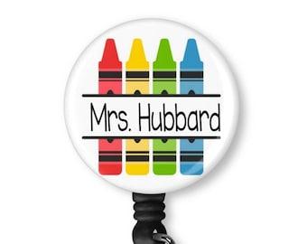 Custom Personalized Teacher Retractable Badge Holder, reel