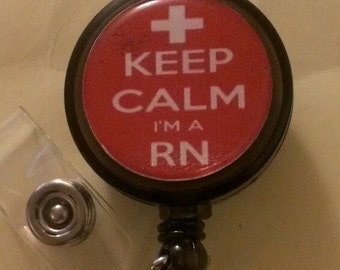 Keep Calm RN Retractable Badge Holder