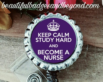 Keep Calm Nursing Student  Retractable Badge Holder