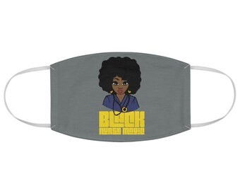 Black African American Nurse Natural Hair Fabric Face Mask
