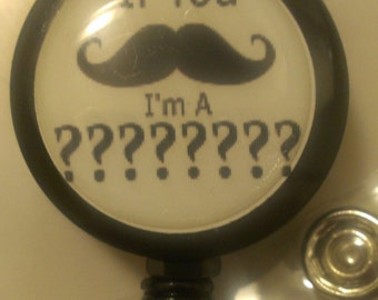 Personalized Custom Mustache Retractable Name Badge Holder Reel