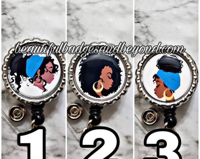 Featured listing image: Black, African  American, woman, Natural Hair, retractable reels and pins 002