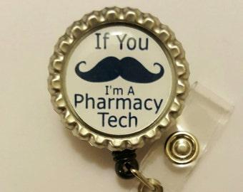 Mustache Pharmacy Tech Retractable Name Badge Holder Reel