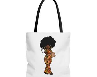 Black African American Nurse RN Scrubs Kente AOP Tote Bag