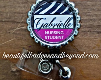 Personalized Nursing Student Retractable Badge Holder