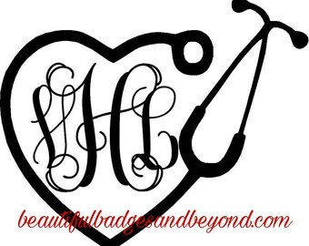 Nurse Monogram Vinyl Decals & Iron on Decals