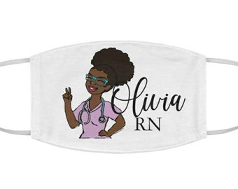 Personalized Black African American Nurse RN Fabric Face Mask