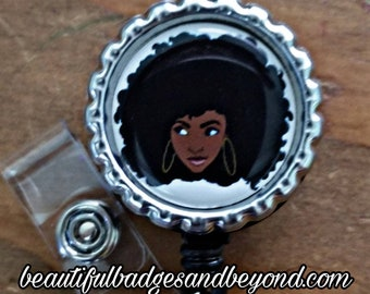 Black woman Afro Retractable Badge Holder
