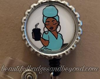 Black, African  American, Nurse, Natural Hair, Locs, Scrubs, scarf Retractable Badge Holder, reel