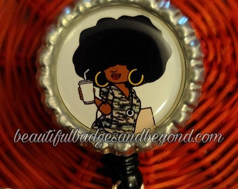 Black, African  American, Army Military Nurse, Natural Hair, Locs, Scrubs, Retractable Badge Holder, reel