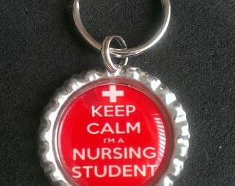 Keep Calm Nursing Student Bottle Cap Keychain