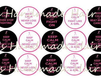 Keep Calm Breast Cancer Awareness Bottle Cap images Instant Download