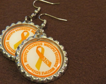Multiple Sclerosis Bottle Cap Earrings