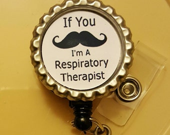 Mustache Respiratory Therapist Retractable Name Badge Holder Reel