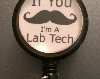 Mustache Lab Tech Nurse Retractable Name Badge Holder Reel
